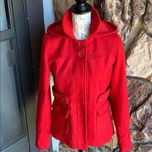 red short peacoat wool blend
